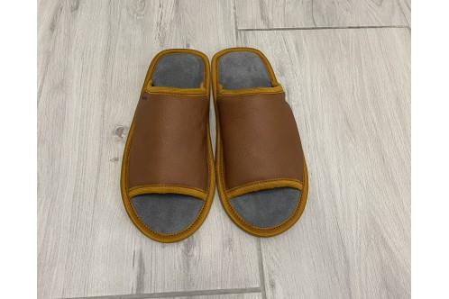 Leather slippers open toe for women