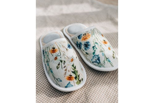 linen slippers Flowers